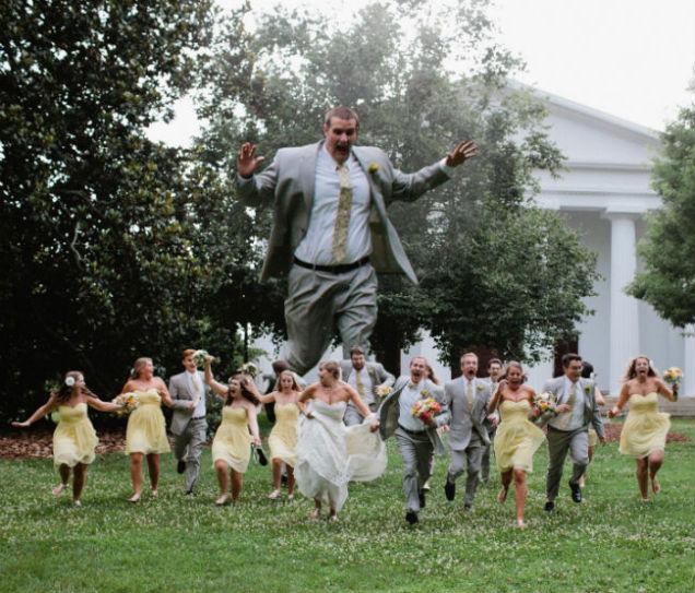 foto boda invitado gigante