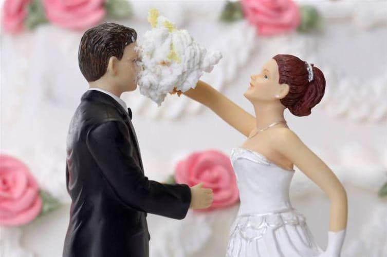 tarta de boda en la cara