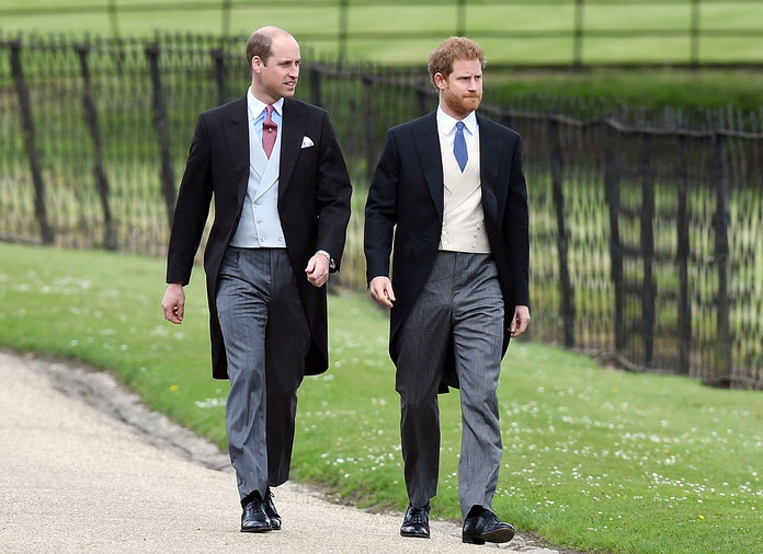 ENGLEFIELD GREEN, ENGLAND - MAY 20: Prince William, Duke of Cambridge and Prince Harry (R) attend the wedding of Pippa Middleton and James Matthews at St Mark's Church on May 20, 2017 in Englefield Green, England. (Photo by Samir Hussein/Samir Hussein/WireImage)